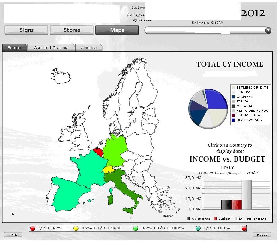 Business intelligence with sap business objects xcelsius sales geographical maps shows income vs budget vs last year income for the selected country gumiabroncs Image collections