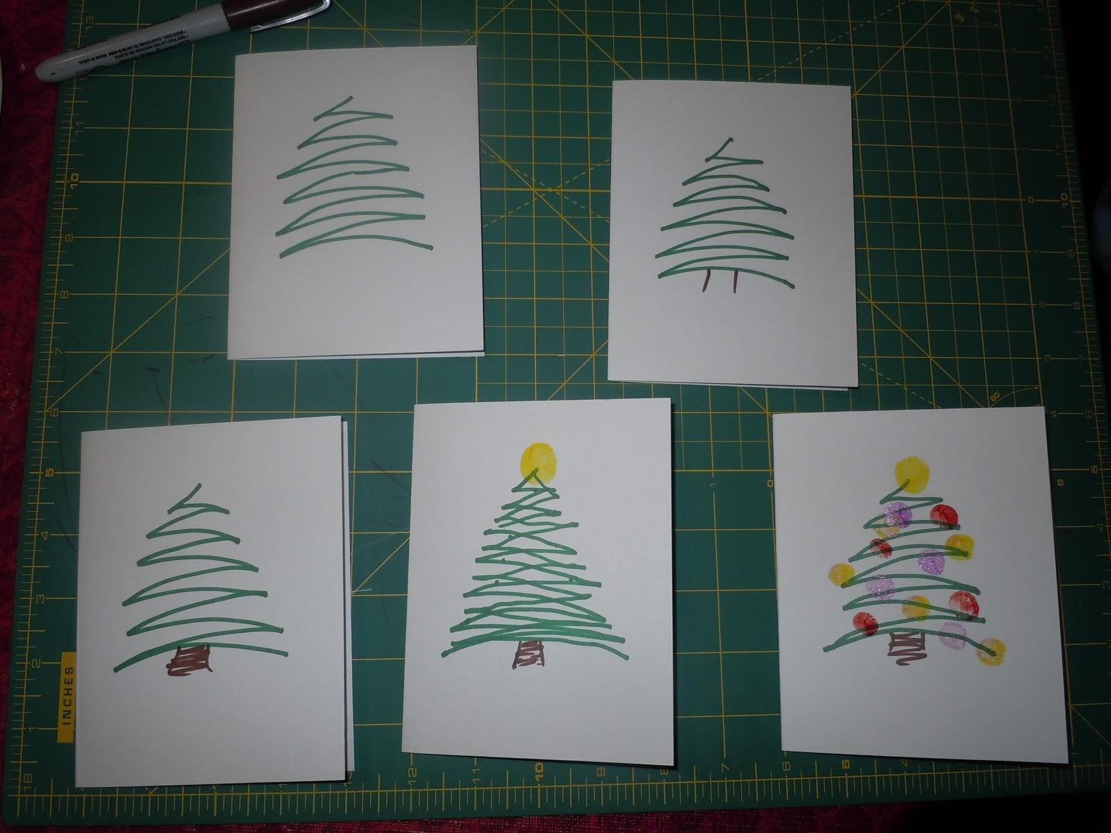 Menu ideas for busy moms fingerprint christmas cards for Christmas card drawing ideas