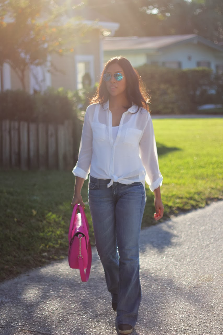 jeans white shirt abercrombie 7 mankind pink kate spade bag ray ban blue mirror