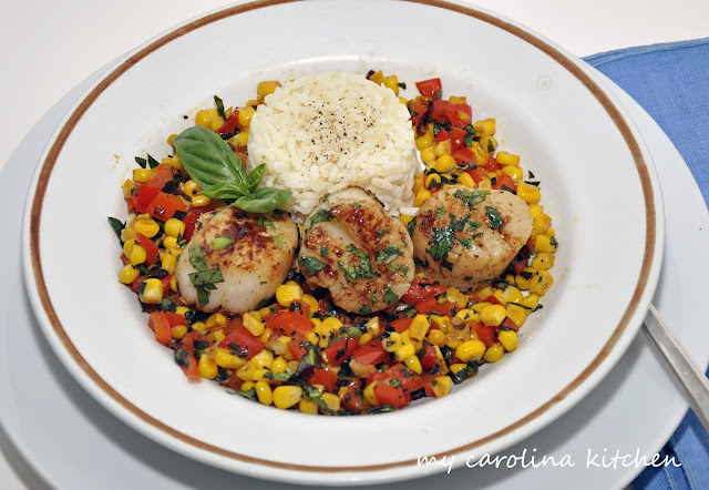 Corn & Peppers with Sea Scallops