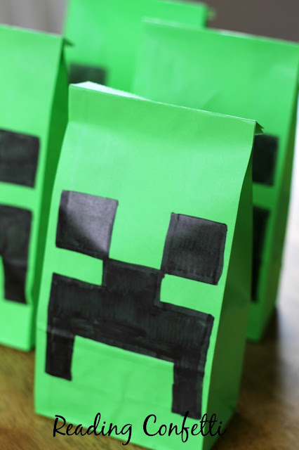 Easy to make creeper piñatas for a Minecraft themed birthday party