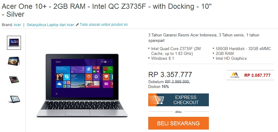 Harga Acer One 10 September 2015 Rp 3,1 Juta di Lazada, Mau?