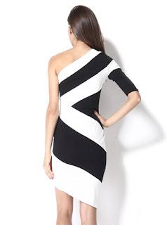 Vestido Formal con un Hombro, Manga Larga y Asimétrico, Blanco y Negro