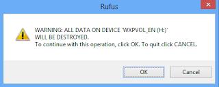 Notifikasi dari rufus pilih ok dan ketahap selanjutnya tata cara instal windows xp dengan flashdisk
