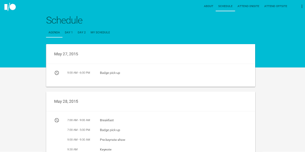 Google I/O 2015 schedule