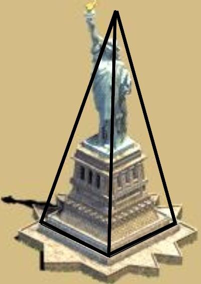Piramide astral envolta da Estatua da Liberdade