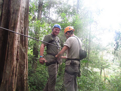 FWT gearing up, Canopy Platforms, Arenal Mundo Aventura (Brake glove on right hand)