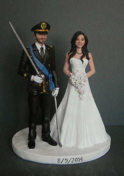 cake topper matrimonio sposo esercito decorazioni torte orme magiche