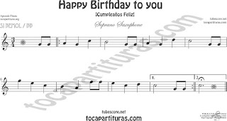 Soprano Sax y Saxo Tenor Partitura de Happy birthday to you (Cumpleaños Feliz) Sheet Music for Soprano Sax and Tenor Saxophone Music Scores