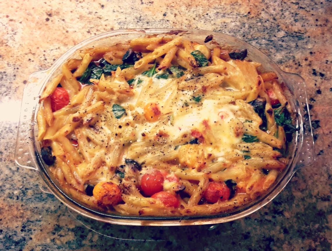 Chorizo and tomato pasta bake