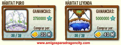 imagen de los nuevos habitats puros y legendarios de dragon city