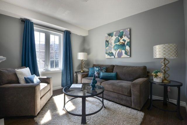 Salas en gris y azul salas con estilo for Paredes turquesa y gris