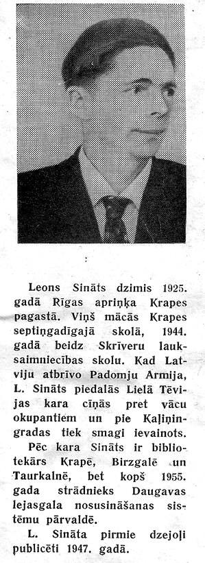 Leons Sināts - Valles bibliotēkas vadītājs 1956. gadā
