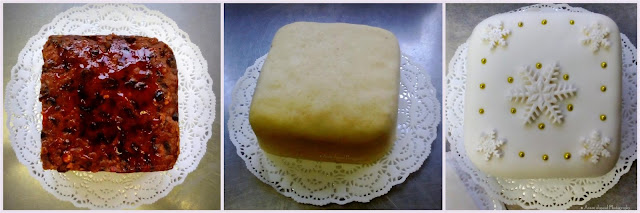 The 3 stages of making Christmas cakes, before the almond paste, with the almond paste and with the rolled out icing