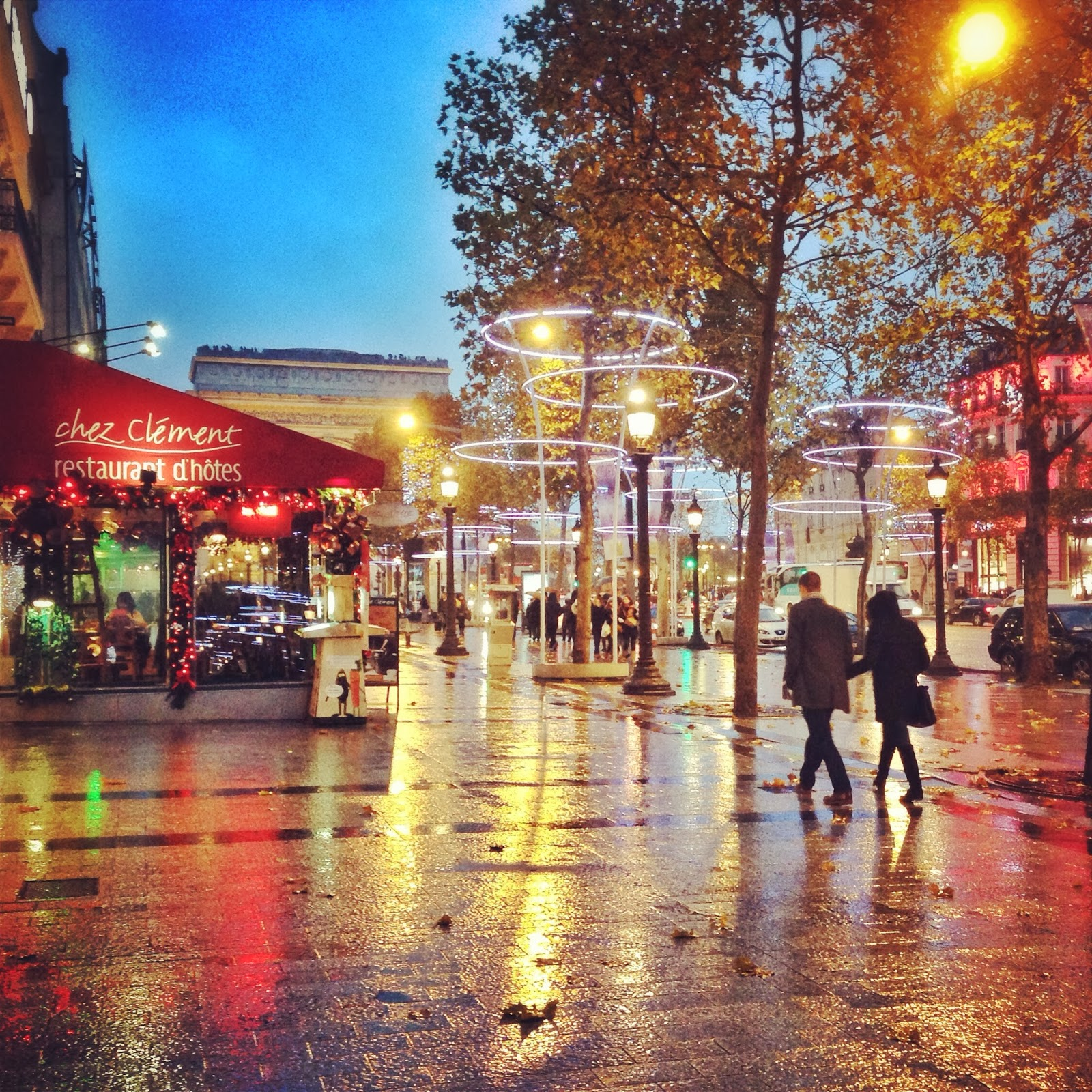 Rainy streets of paris along the Champs d'Elysee