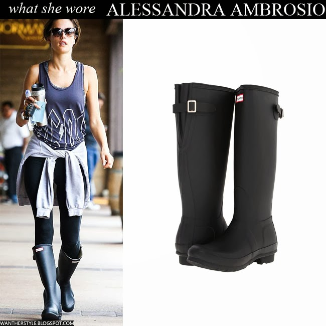 Alessandra Ambrosio in black rubber rain boots by Hunter Want Her Style