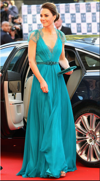 Kate Middleton Green, Teal Dress Jenny Packham