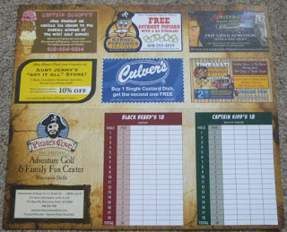 Scorecard from the Miniature Golf courses at Pirate's Cove Original Adventure Golf & Family Fun Center in Wisconsin Dells