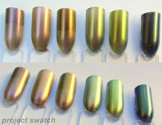 swatches - Maybelline Pink Cosmo, China Glaze Swanky Silk, Maybelline Boho Gold, OPI Just Spotted the Lizard, Hits Mari Moon Trendy, Hits Mari Moon Cool