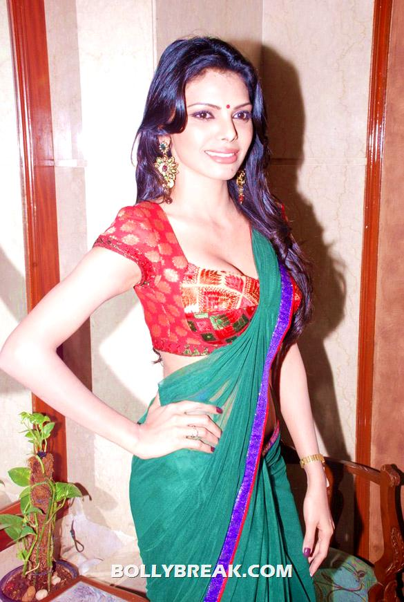 Sherlyn Chopra doing side pose for camera in green sari with red blouse - Sherlyn Chopra in Green Sari at Playboy Press Meet