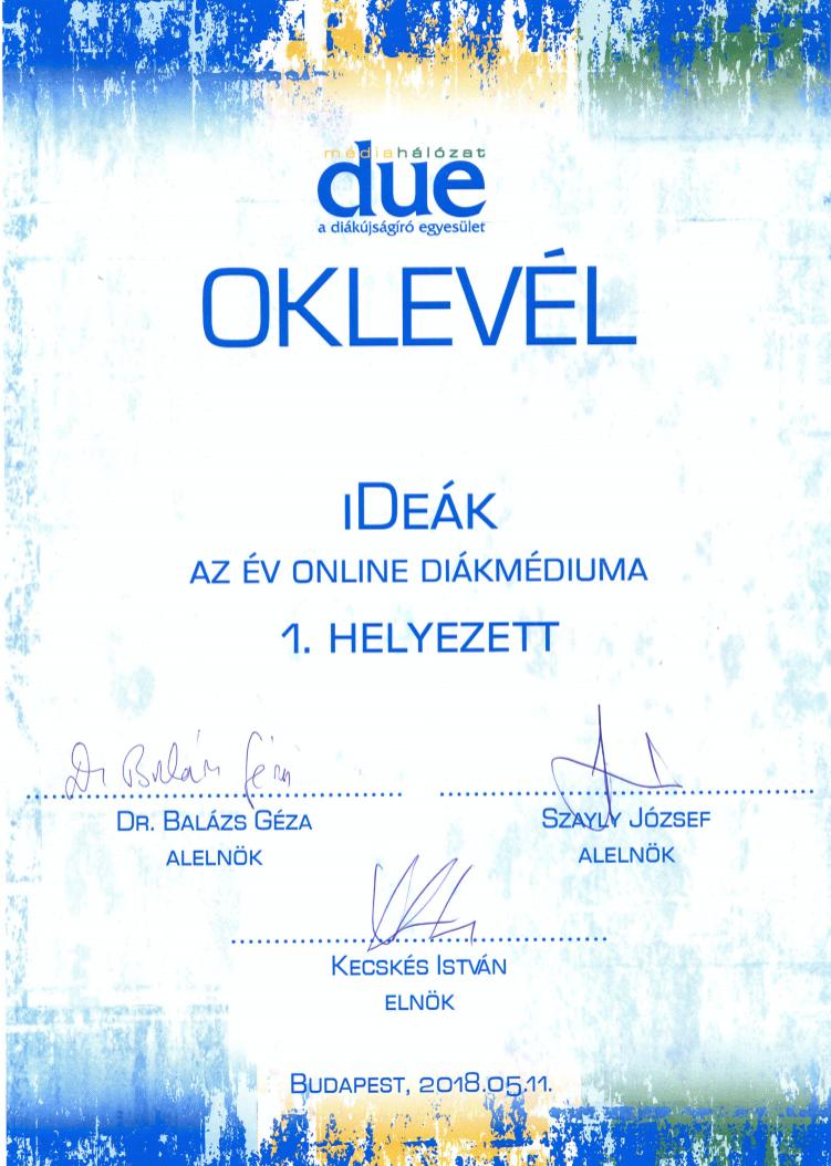 Az év online diákmédiuma