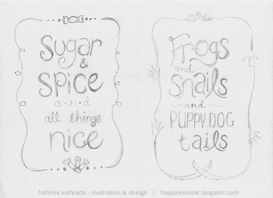 Happiness is... freelance illustration, graphic design & stationery - rough sketches for commissioned illustration for a kids' room
