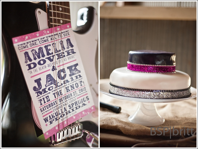 The twotoned purple wedding invitation screamed fun relaxed informal