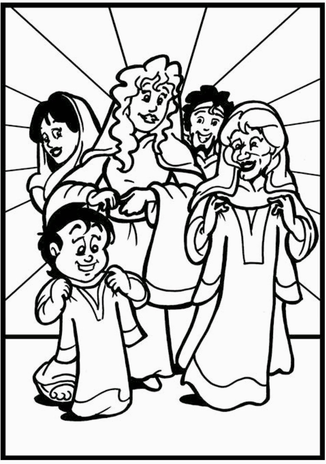 Free coloring pages of dorcas for Dorcas in the bible coloring pages