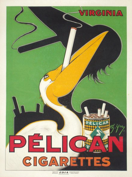 free printable, printable, advertising, tobacco, vintage, vintage posters, retro prints, classic posters, graphic design, free download, Pelican Cigarettes, Virginia - Vintage Advertising Tobacco Poster