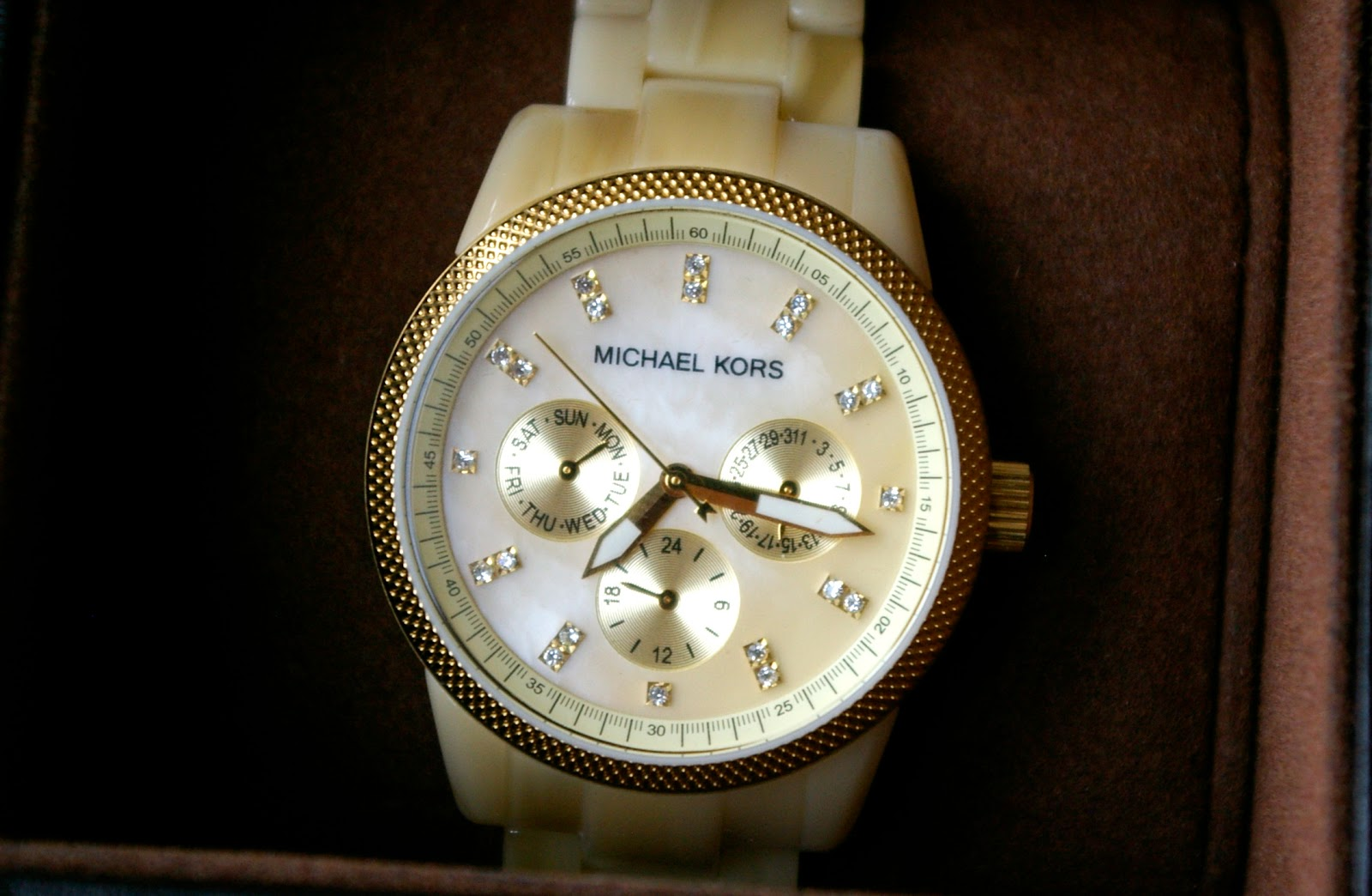 Michael Kors Ladies Ritz Cream Chronograph Watch