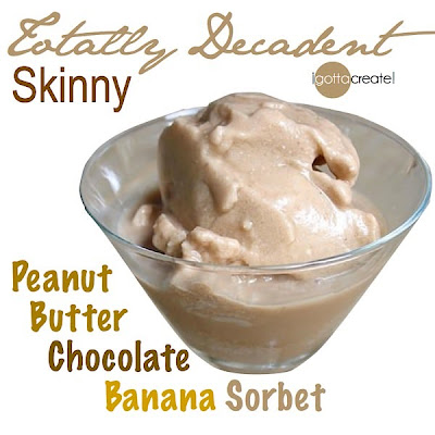 Skinny peanut butter, chocolate, banana sorbet is less than 100 calories! | Recipe at I Gotta Create!
