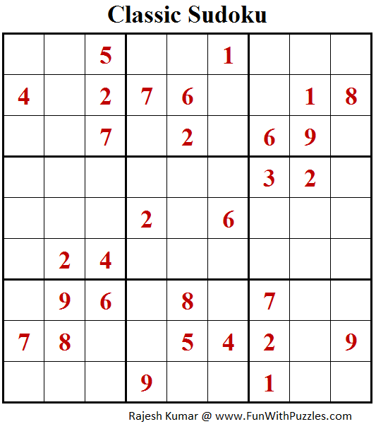 Classic Sudoku (Fun With Sudoku #112)