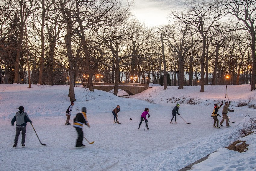 Deering Oaks park ice skating in January 2015 Portland, Maine photo by Corey Templeton