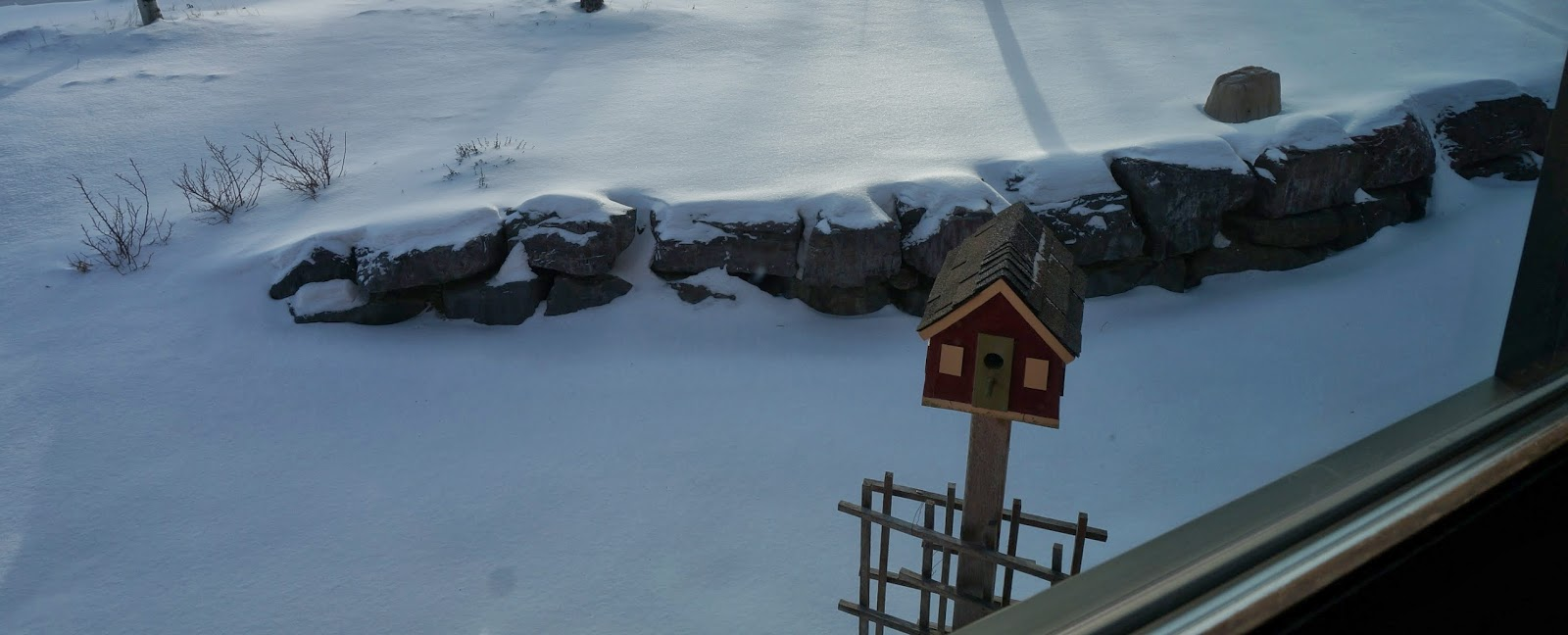 Bird house in the snow in garden