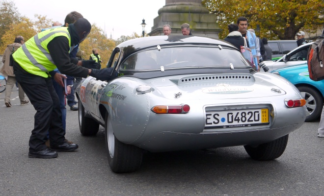Converted Jaguar E-Type at the finishing line