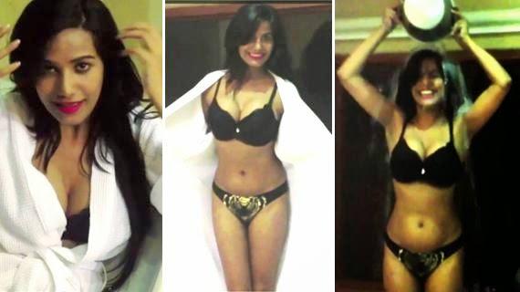 Poonam Pandey Spicy Show In Black BRA & Panty For IceBucketChallenge-Twitter Pics