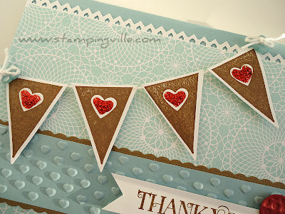 Stamped Mini Heart Banner Greeting Card