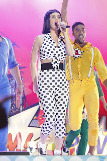 Katy Perry in polka dot outfit at Capital FM Summertime Ball