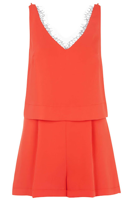 coral playsuit, v neck playsuit, lace hem playsuit,