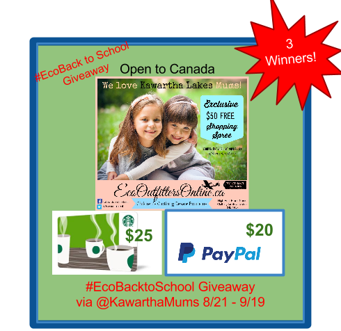 Kawartha Lakes Mums Hosts Free Back to School Giveaway Sponsored By Eco Outfitters Online
