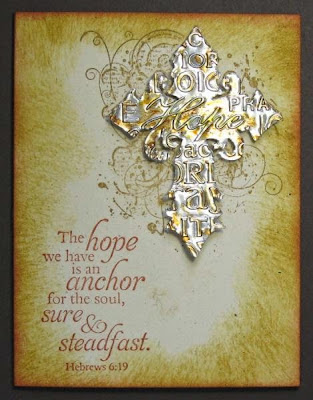 ODBD Never Give Up, Anchor, ODBD Custom Grunge Cross Die, Customer Card of the Day by Lynn McAuley