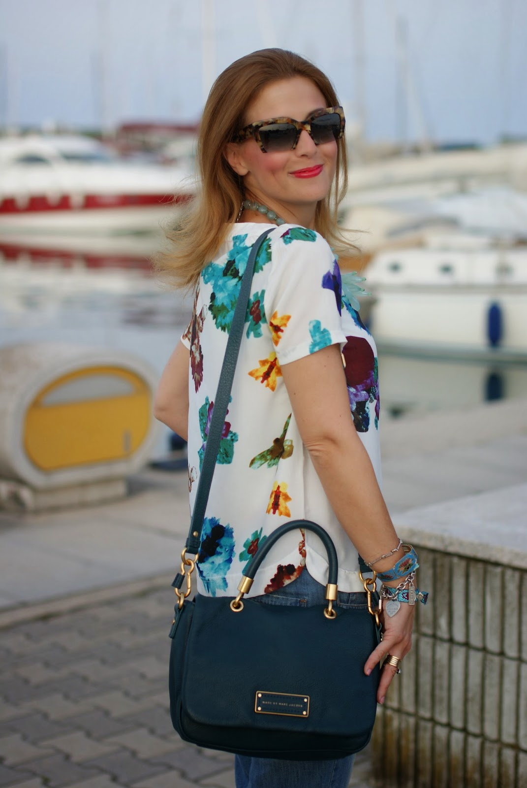 blackfive floral blouse, jeweled boyfriend jeans, miu miu rasoir sunnies, Fashion and Cookies, fashion blogger