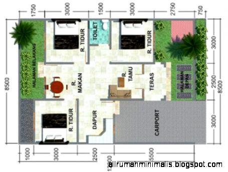 Gambar Desain Denah RUMAH MINIMALIS TYPE 60