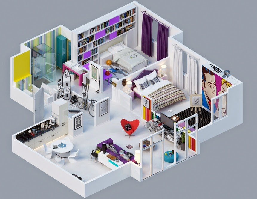 Pop Art Apartment Layout 3 Create A 3d Floor Plan Online A Home Plans Ideas