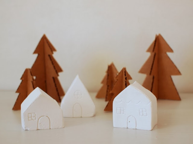 DIY Christmas village from Plaster of Paris
