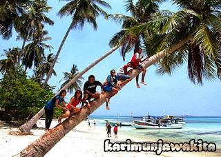 berfoto di pohon kelapa miring pantai tanjung gelam