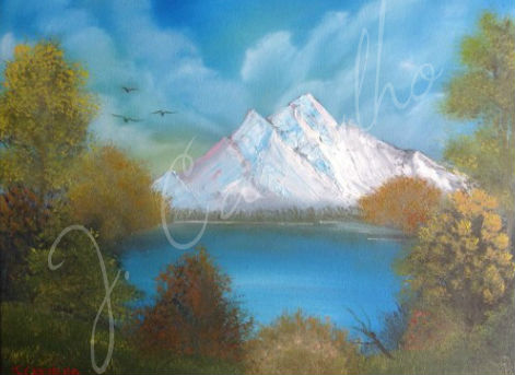 "J. Carvalho, ""View of the Lake"" - Oil Painting on Canvas"