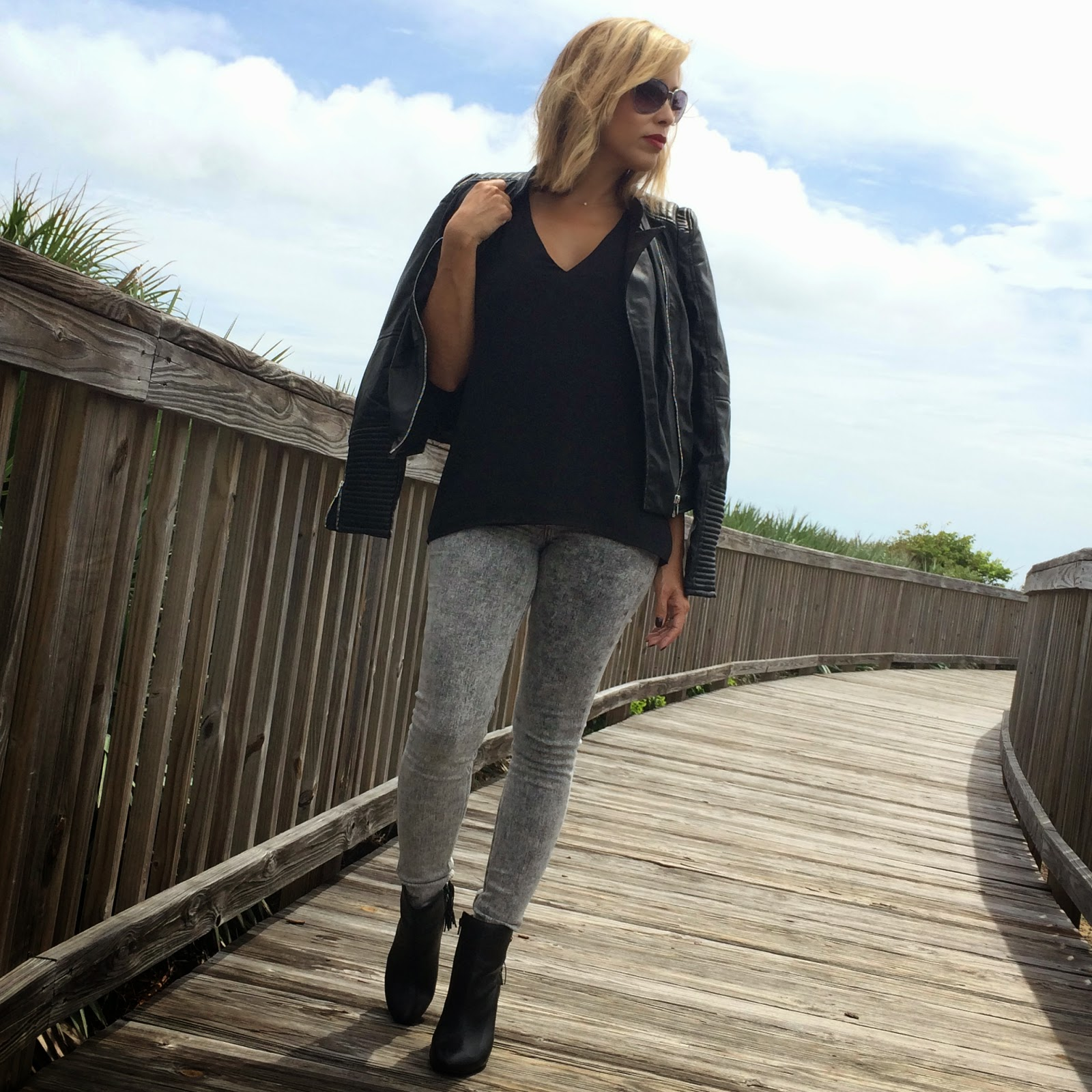 Just Fab Booties, Banana Republic Tank, Express Jeans, Zara Biker Jacket