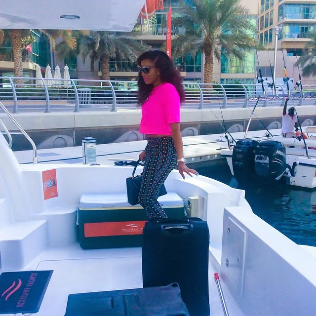Nollywood Actress Chika Ike Rents Private Yacht In Dubai – Photos