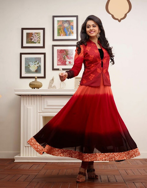Red Faux Georgette Designer Anarkali Suit With Stone Work